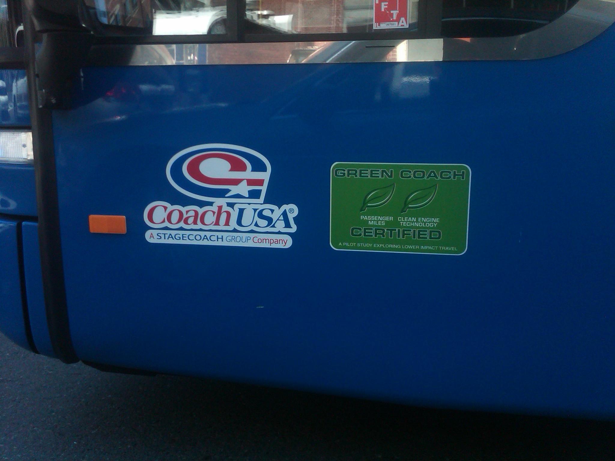 mega bus green certification sticker, wanderu.com