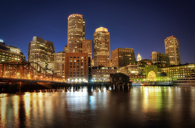 from Boston harbor at night