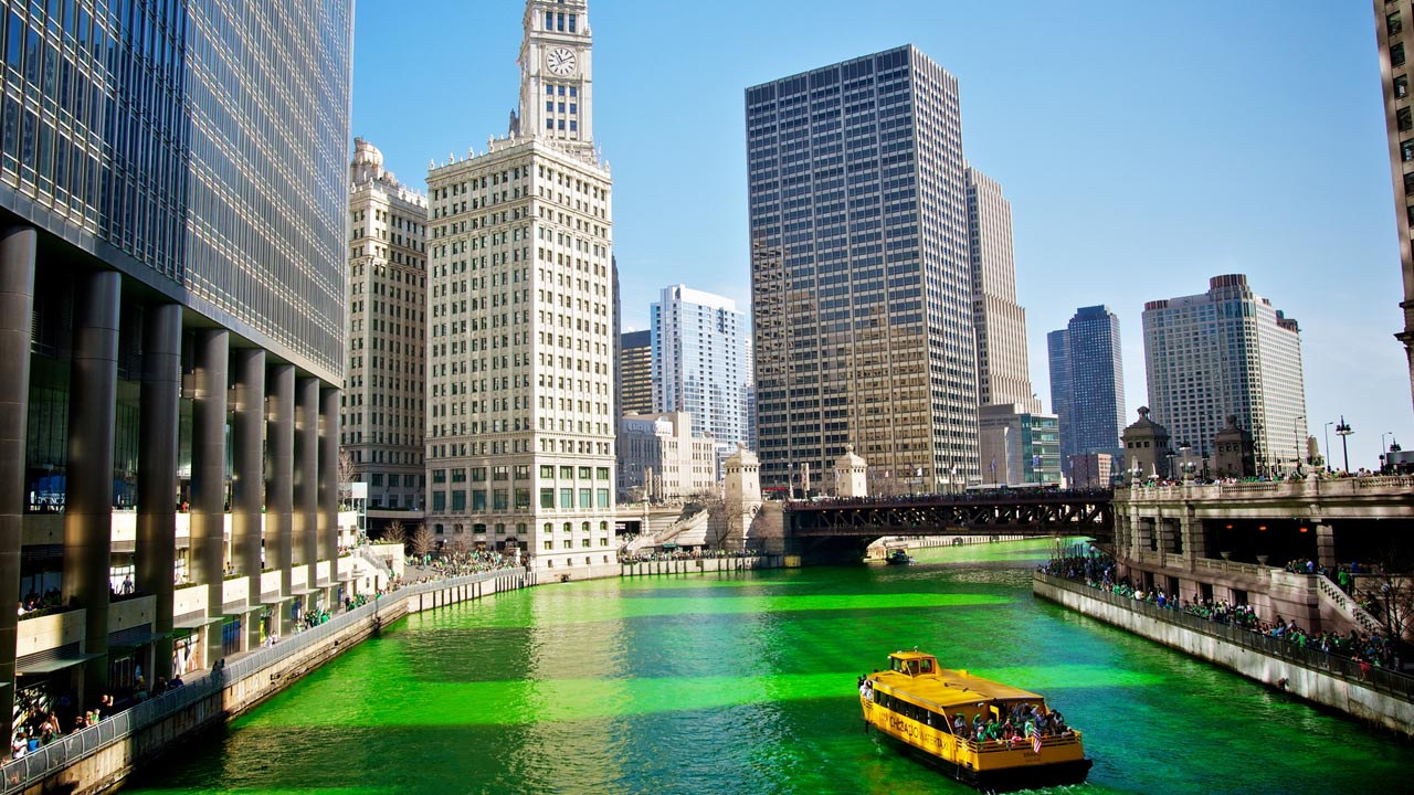 Chicago river during St. Patrick's Day celebrations