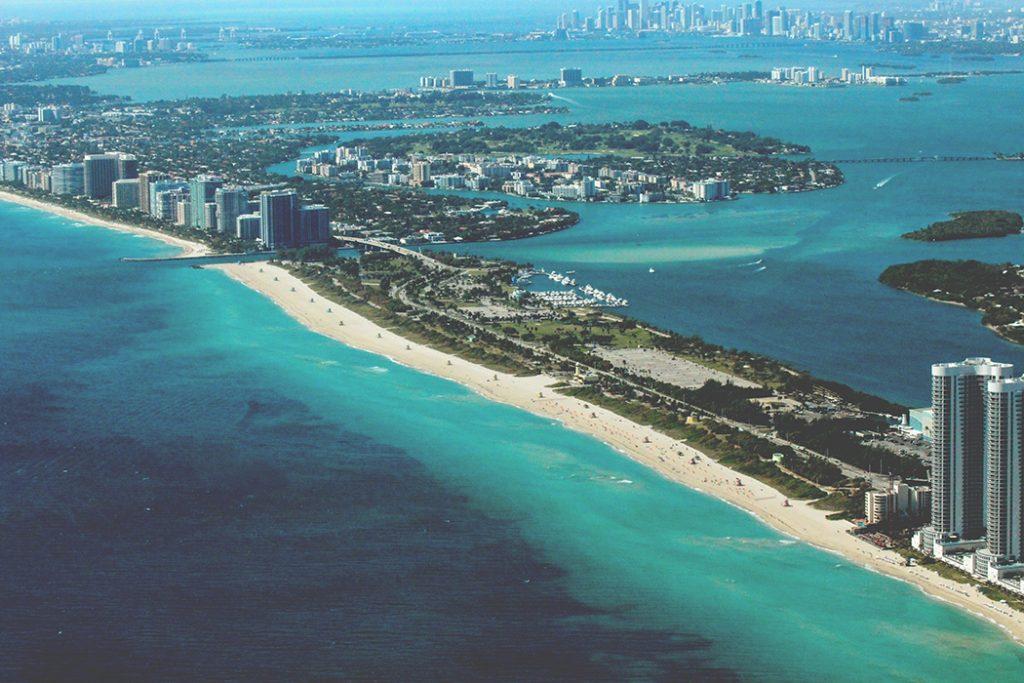 Photo of the Miami coast.