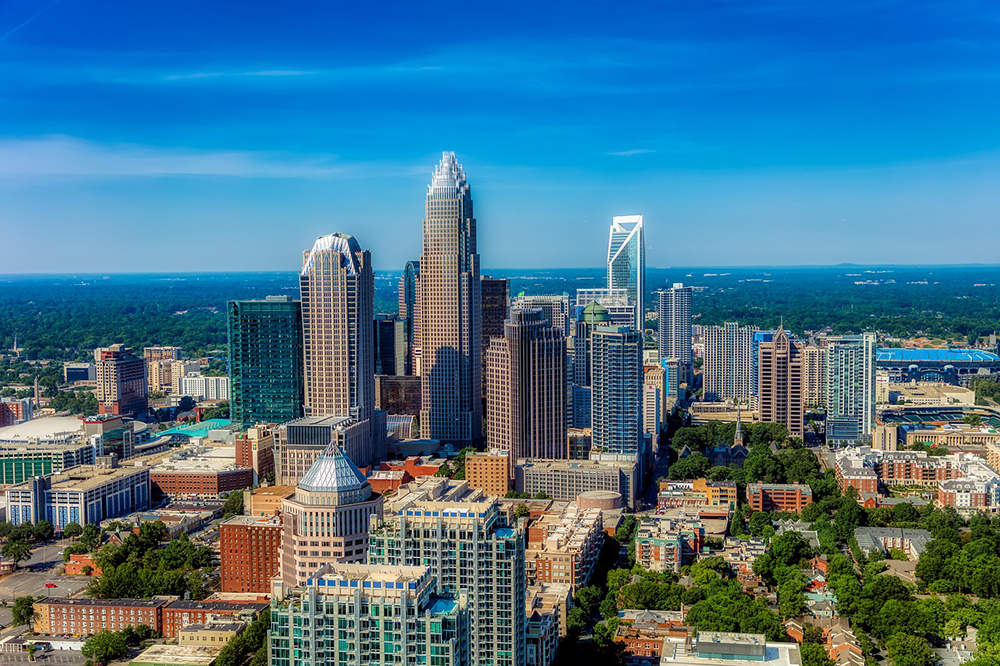 View of the skyline in Charlotte, North Carolina.