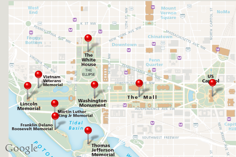 Boston to Washington DC Bus Trip Free Attractions – Tourist Map Washington DC