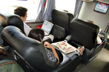 Red Coach Bus seats