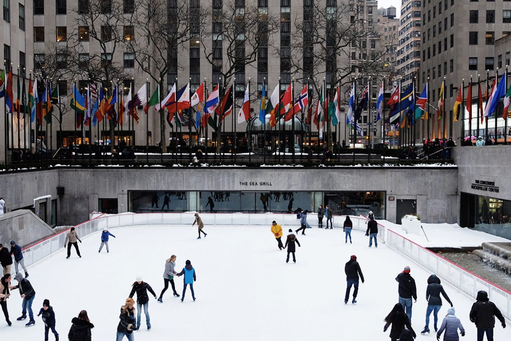 Skaters out on the Rockefeller Center Ice Rink.