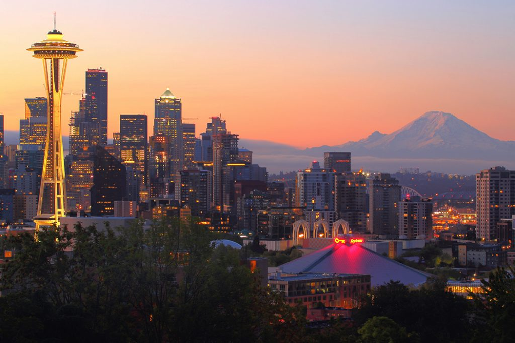 Photo of Seattle's Space Needle at sunset.