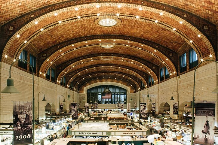 Photo of the interior Cleveland's West Side Market.