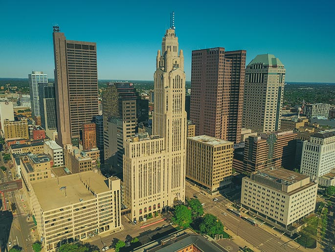 Photo of downtown Columbus, Ohio, taken from a helicopter.