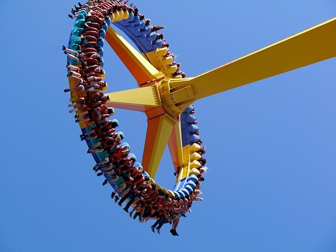 Photo of an amusement park ride at the Cedar Point theme park in Sandusky, Ohio.