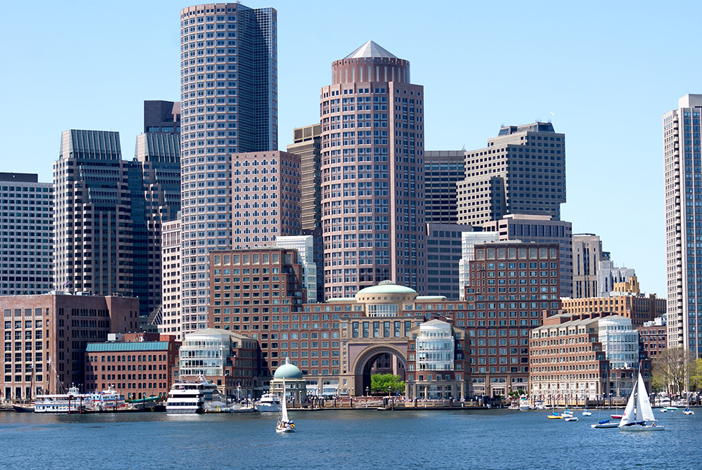 Photo of Boston from the Boston Harbor.