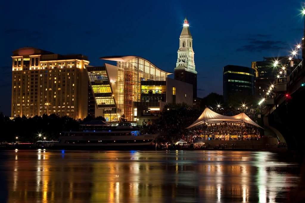 Photo of the waterfront in Hartford, Connecticut at night.