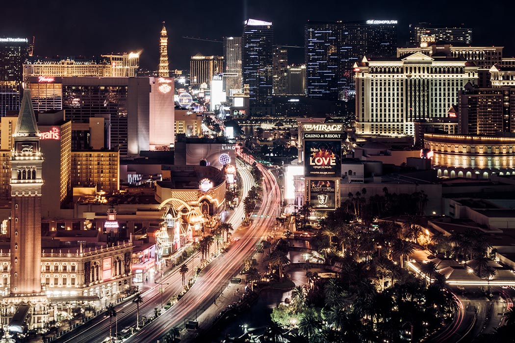 Photo of The Strip at night in Las Vegas.