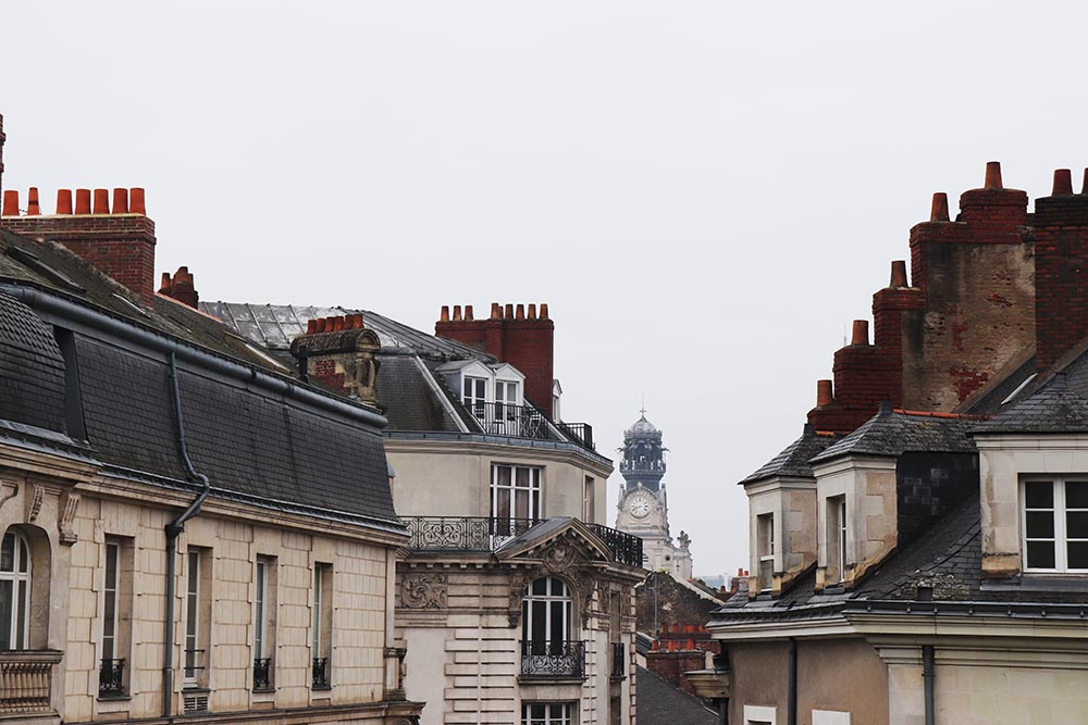 Photo of rooftops in Nantes, France.