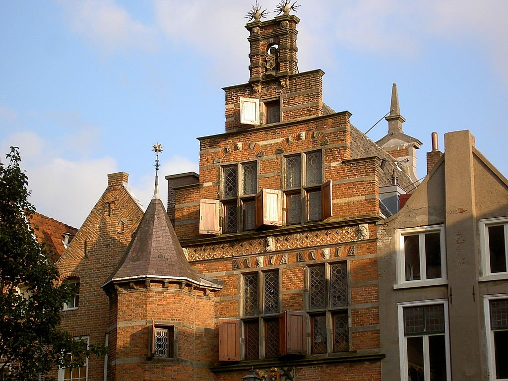 The setting sun reflects off a red-brick building in Nijmegen, Netherlands.