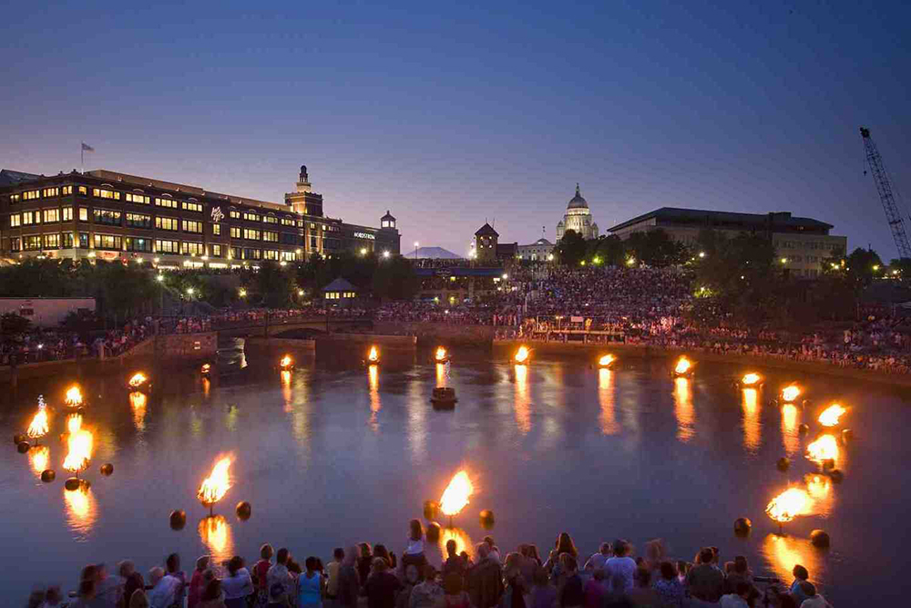 WaterFire on the river in Providence, Rhode Island.