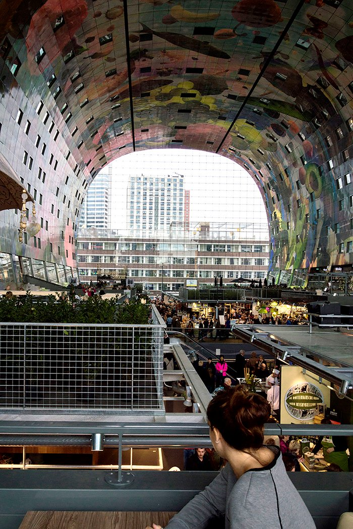 Photo of the open-air Markthal in Rotterdam, Netherlands.