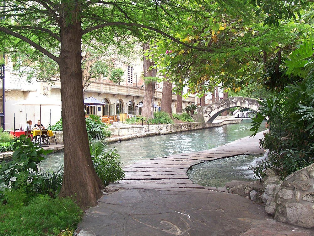Photo of the Riverwalk in downtown San Antonio.