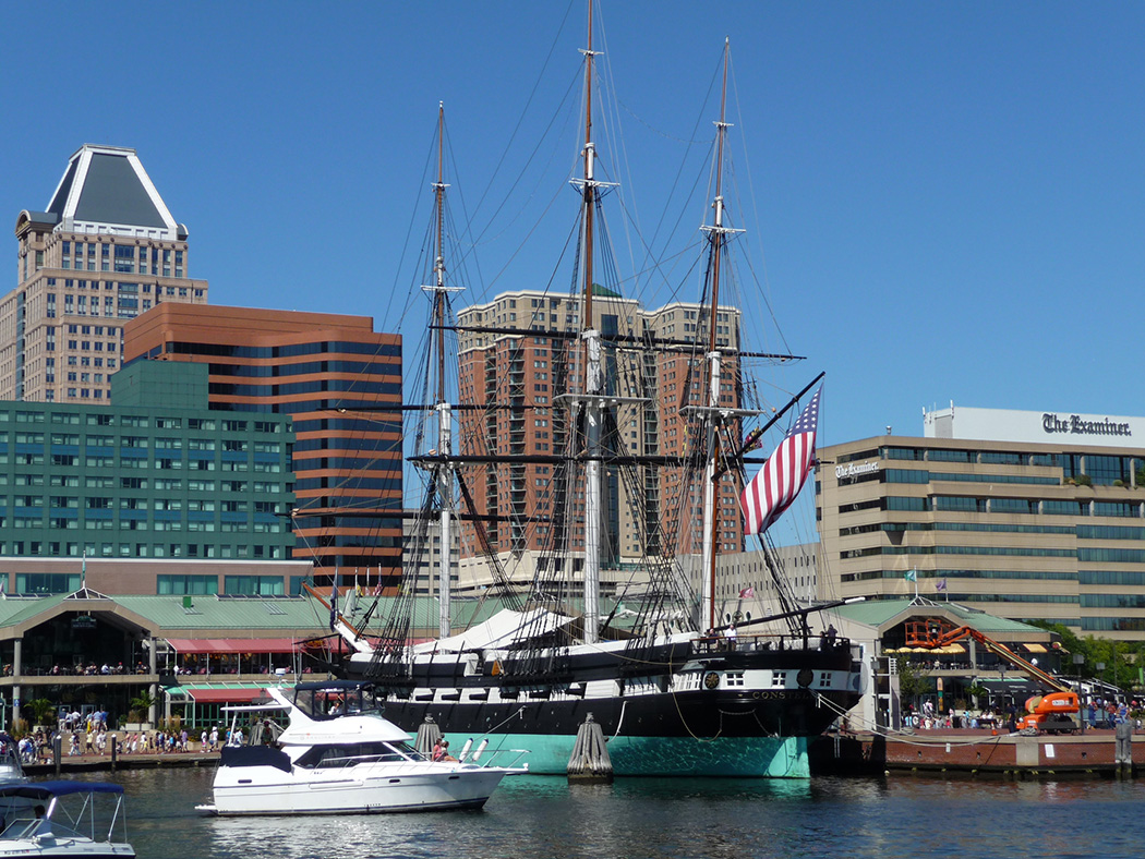 Photo of Baltimore's Inner Harbor on a sunny summer day.