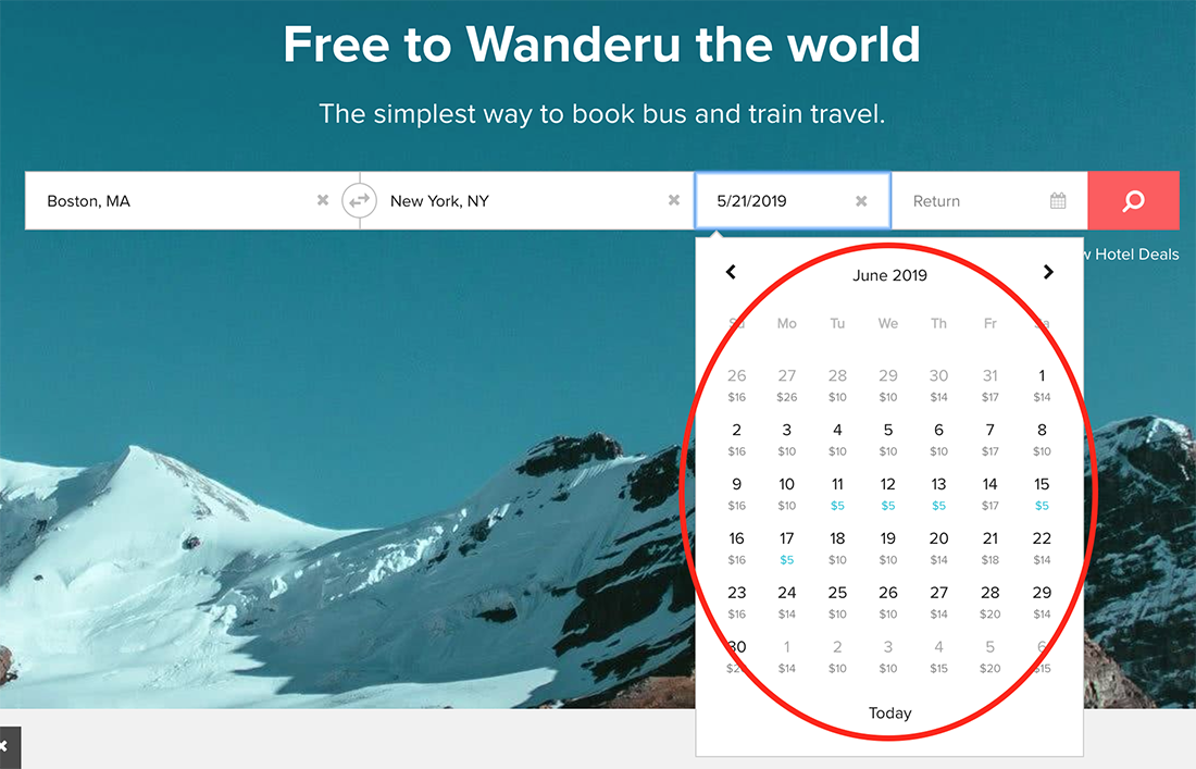 This screenshot shows an example of the Wanderu Calendar View.