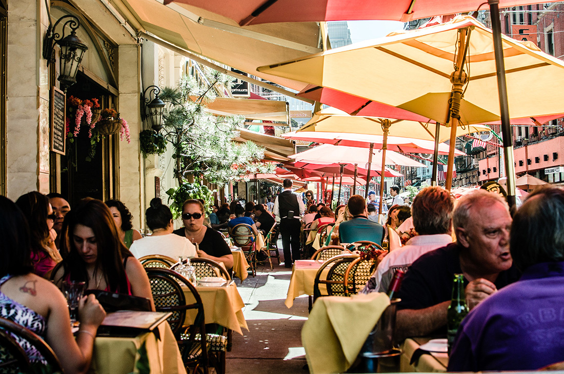 Photo of a busy Italian bistro in New York City.