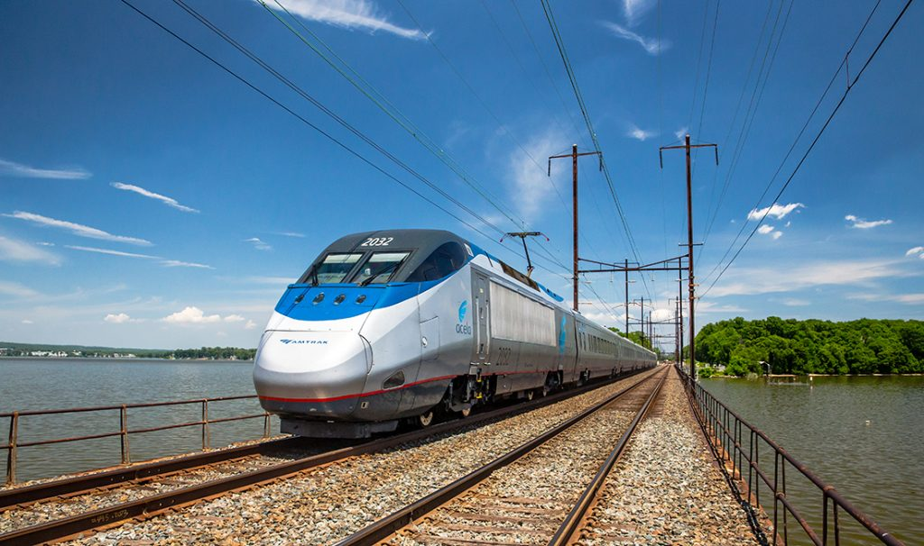 Amtrak Acela train on a trip.