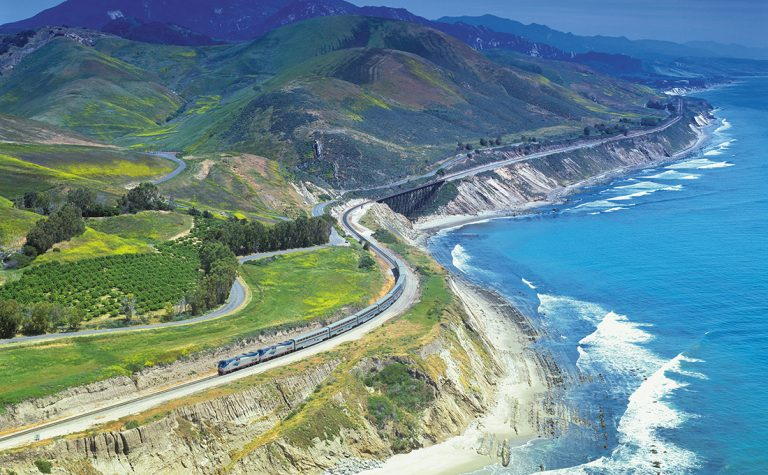 Amtrak's Coast Starlight weaves up the Pacific Coast.