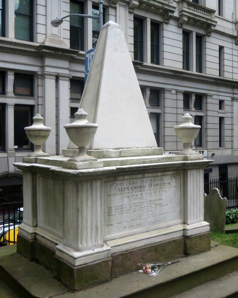 Photo of Alexander Hamilton's grave in New York City.