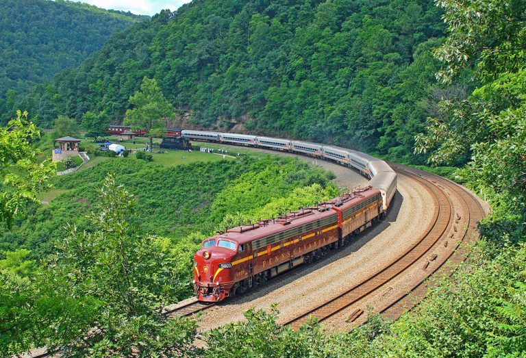 The historic Horseshoe Curve on Amtrak's Pennsylvanian service.