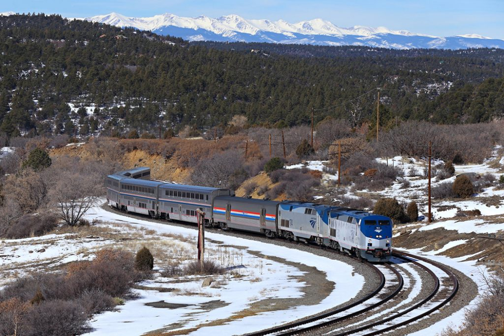 Photo of Amtrak's Southwest Chief at Raton Pass.