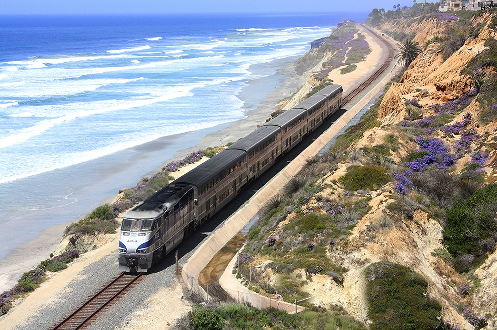 Amtrak's Pacific Surfliner runs up the California Coast from San Diego to San Luis Obispo.