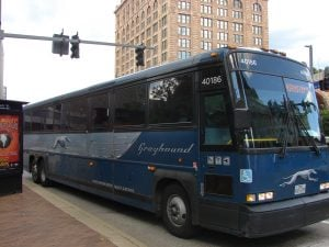 Photo of a Greyhound bus headed to Washington, D.C.