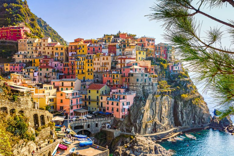 Colorful buildings on the coast in Italy's Cinque Terre.