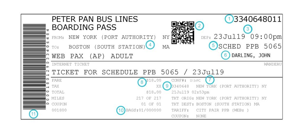 How to Read Your Peter Pan Bus Ticket