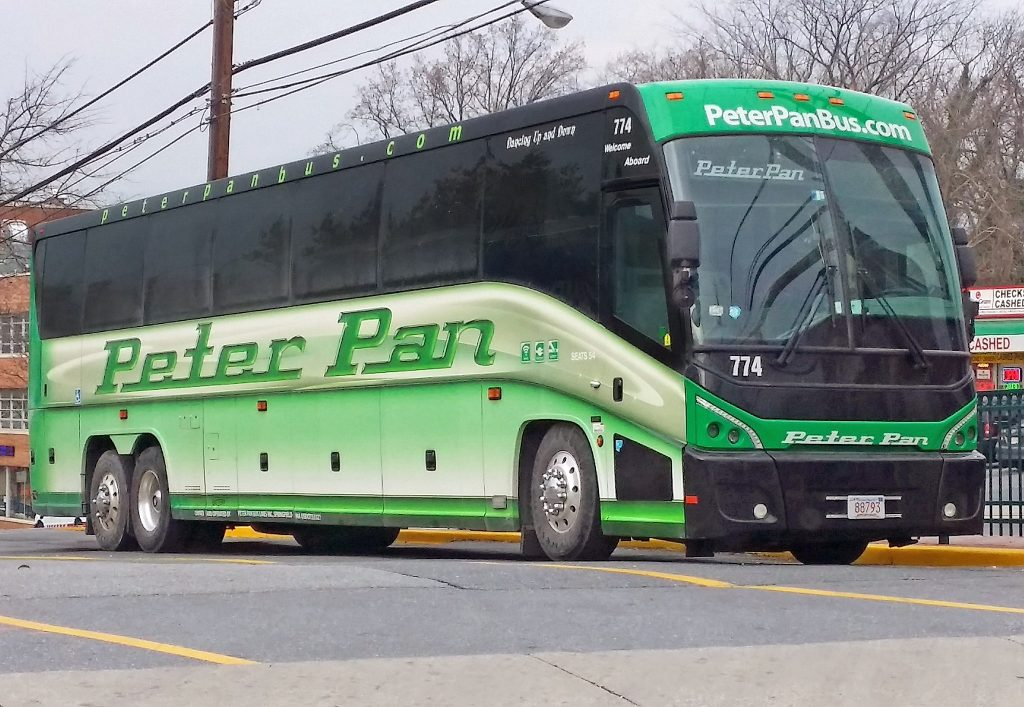 Peter Pan bus on the road.