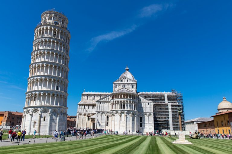 Photo of the Leaning Tower of Pisa on a sunny Italian day.
