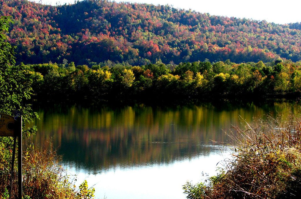Photo of the Ohio River in autumn.