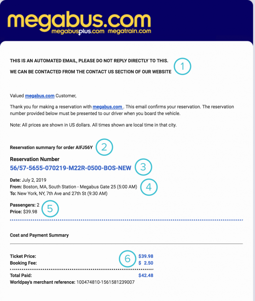 How to Read Your Megabus Ticket