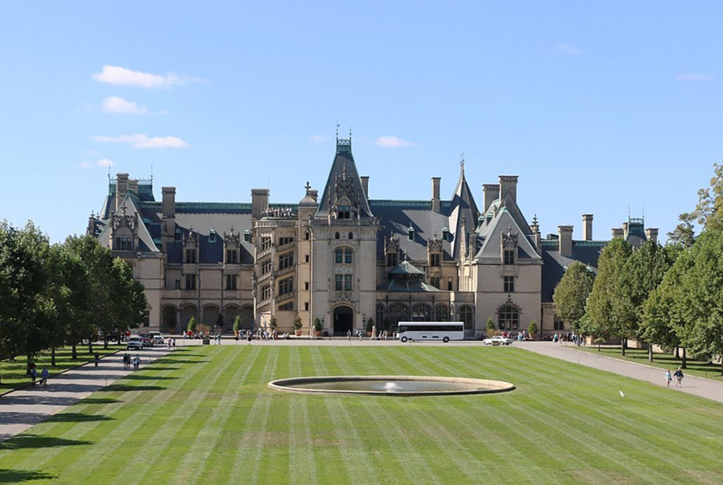 Photo of the Biltmore mansion in Asheville, NC.