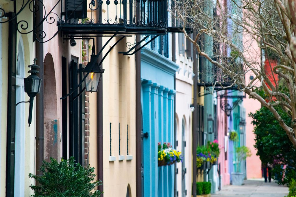 Colorful houses along a street in Charleston, South Carolina.