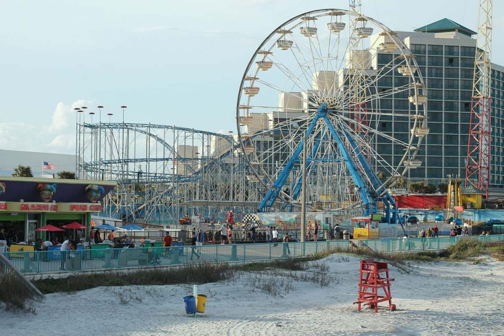 Attractions on the beach in Daytona, Florida.