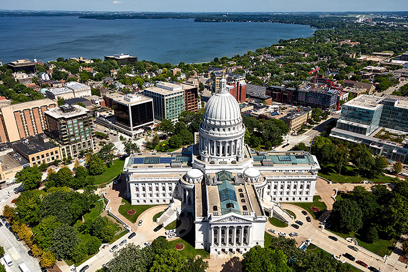 Bird's-eye view of the Wisconsin capitol building in Madison.