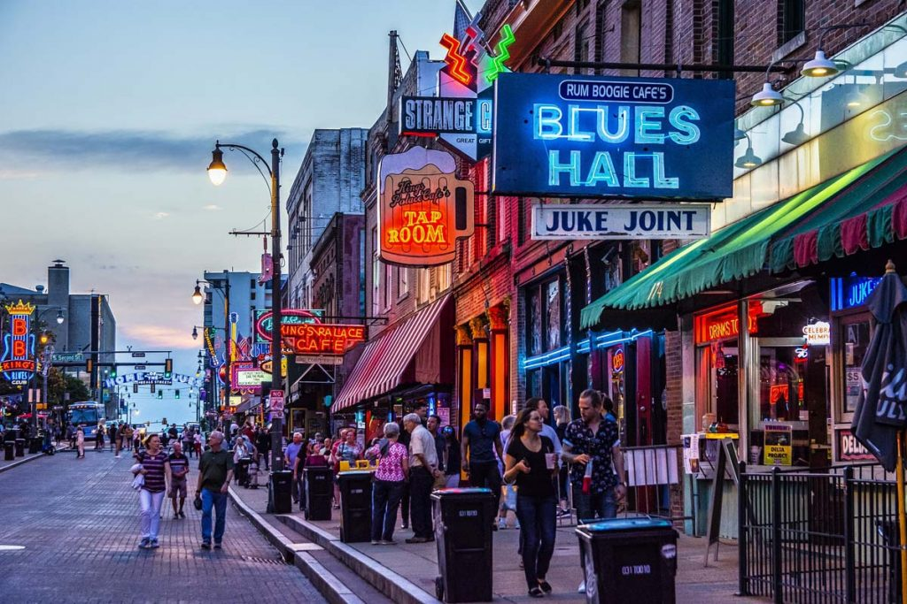 A busy night on Beale Street in Memphis, Tennessee.