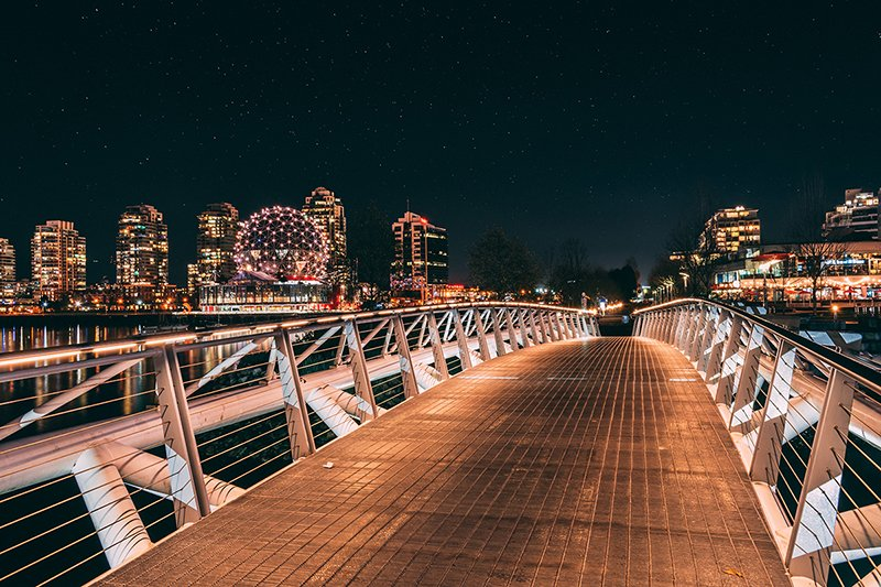 Photo from a bridge over Fraser River in Vancouver, BC.
