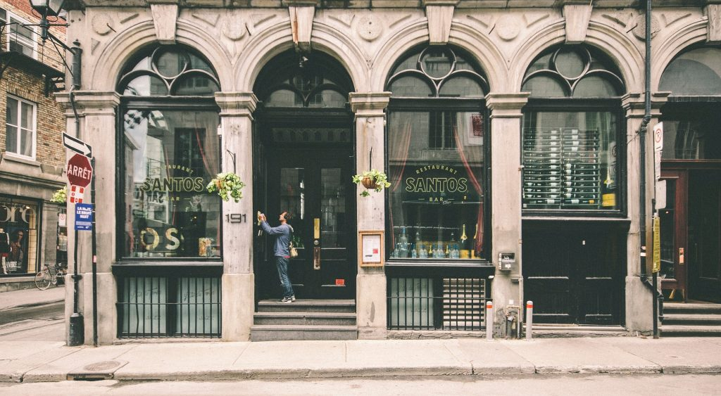 Photo of a storefront in downtown Montreal.