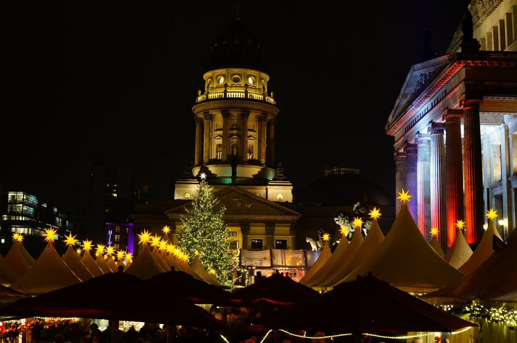 Photo of the Berlin Christmas market at night.