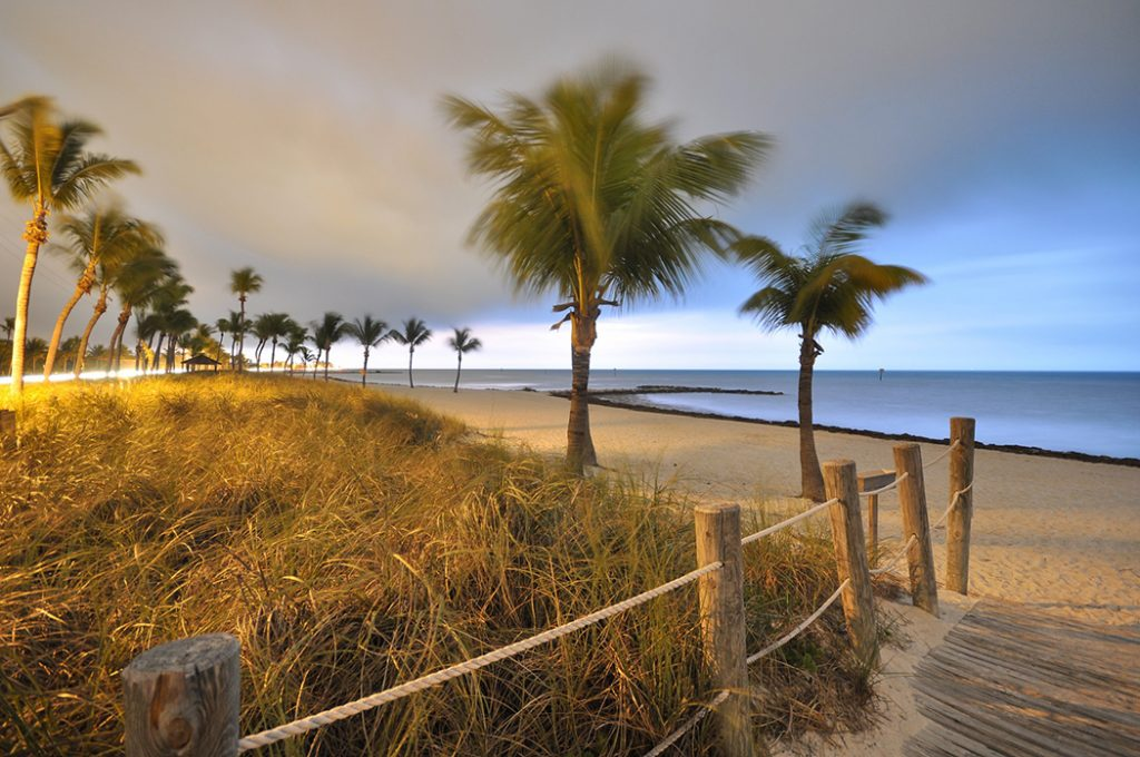 Photo of the sunset on the beach in Key West.