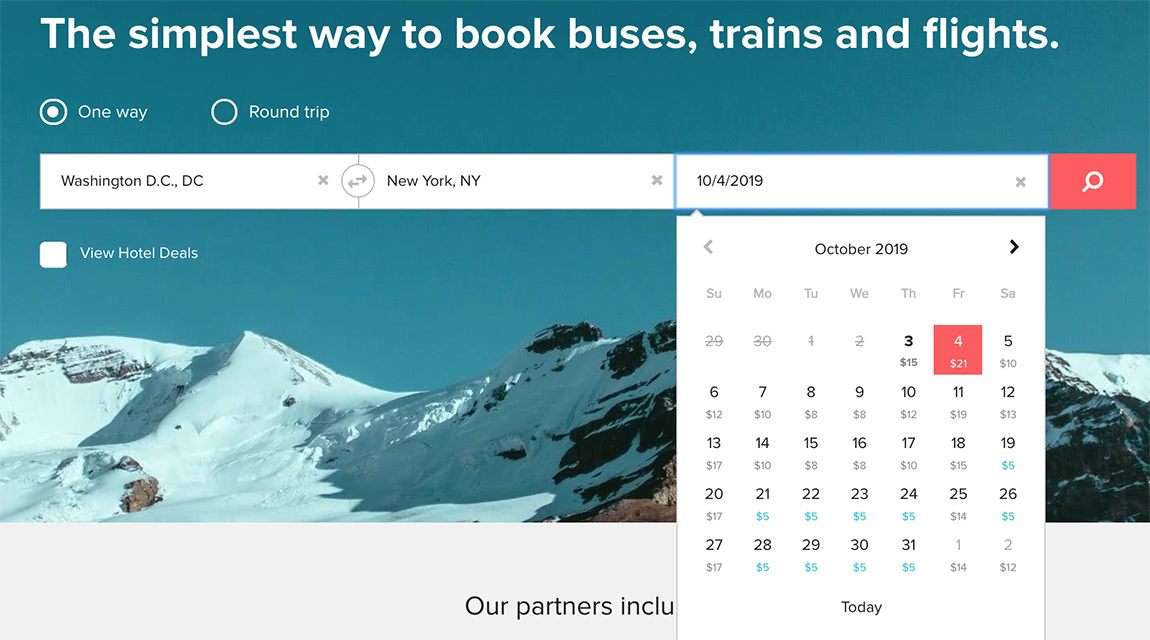 Screenshot of Calendar View on Wanderu for a route from Washington to New York.