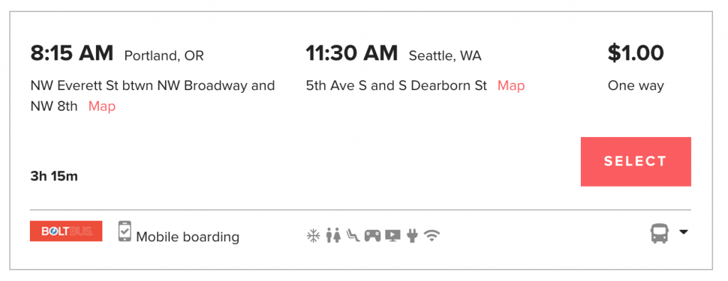 Screenshot of a $1 bus ride available on Wanderu.