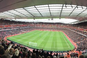 Panoramic photo from the stands in Emirates Stadium.
