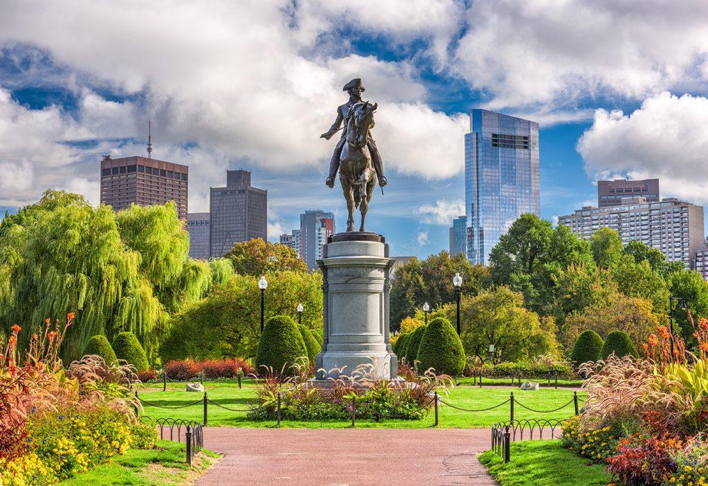 George Washington Monument at the Public Garden in Boston, Massachusetts.