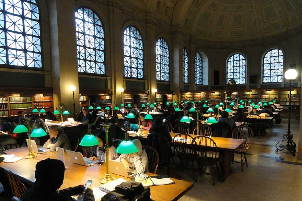 Photo of Bates Hall in Boston Public Library.